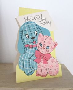 Vintage children's Happy Birthday card. Gingham by BluumiesAttic