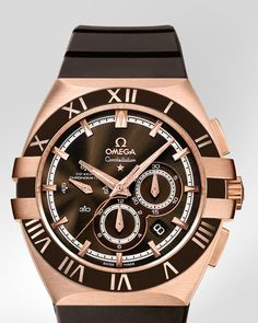 OMEGA Watches: Constellation Double Eagle Chrono - Red gold on rubber strap - 121.62.41.50.13.001