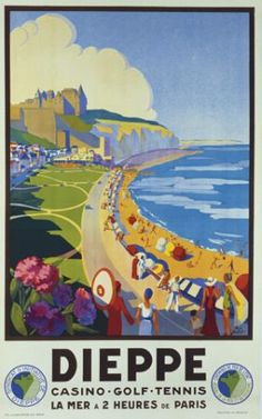 Dieppe beach, vintage poster G81708 , Vintage Poster Market : Online Castles, Religious Places Posters & art illustrations, old reproduction