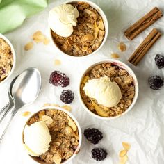 These Grain, Dairy and Refined Sugar Free Mini Apple and Blackberry Crumbles are delicious for dessert or even breakfast and are absolutely perfect for this time of year. After all, who doesn't love it when their house smells of warm apples and cinnamon? Breakfast Smoothies, Breakfast Bowls, Honey Recipes, Fall Recipes, Keto Recipes, Blackberry And Apple Crumble, Toast In The Oven, Pumpkin Breakfast, Pumpkin Smoothie