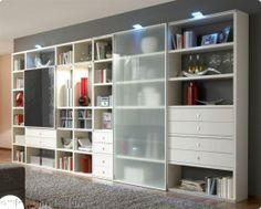 Bücherregal Wohnwand Regal Anbauwand weiß Lack Tara, individuelle Planung nach Maß ist möglich, Typenplan ist hinterlegt
