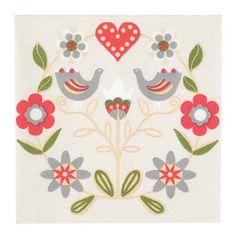 Scandinavian folk art paper napkins from Finland