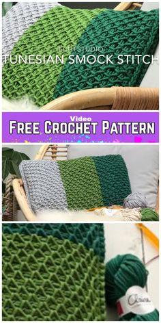Tunisian Crochet Smock Stitch Pillow Free Crochet Pattern - Video - Before After DIY Tunisian Crochet Blanket, Tunisian Crochet Patterns, Crochet Pillow Pattern, Crochet For Beginners Blanket, Afghan Patterns, Freeform Crochet, Crochet Vintage, Diy Crochet, Crochet Santa