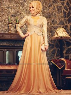 Mah-İ Devran Abiye Elbise - Gold - Minel Aşk