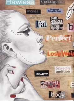 The mixed signals media puts out in concern to women's body image. Women are constantly told of what their body image should look like. Often times, media are not on the same page in agreeing on what the image of a woman should be. Body Image Art, Mental Health Art, Gcse Art Sketchbook, Sketchbook Layout, Sketchbook Ideas, Sketchbook Inspiration, Photo Lovers, Mixed Media Photography, Art Photography