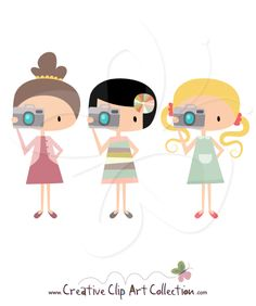 #Girl with #Camera #clipart clip art set by Creative Clip Art Collection. Unique high quality #illustrations, perfect for all your #DIY #Craft #Scrapbooking and #Decorating projects.