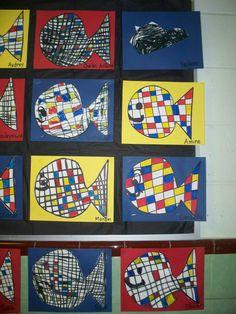 Comme nous avons parlé des baleines, notre petit travail de la journée était d'en faire une à la manière du peintre Mondrian. Les enfants ont tracé les lignes verticales et horizontales puis devaient colorier 10 espaces en bleu, 10 en jaune et 10 en rouge. Ensuite on découpe notre baleine puis on la colle sur un carton de la couleur de notre choix !