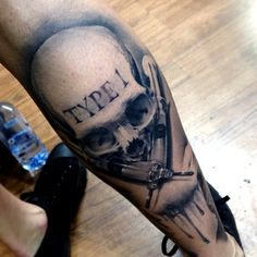 "Realistic skull and syringe ""Type 1"" black and white Tattoo by Benjamin Laukis"