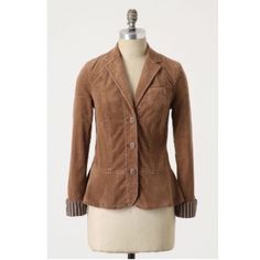 Pilcro blazer Trusty Friend blazer by Pilcro. Corduroy jacket with striped cuffs. Button closure. Cotton and spandex. Size 2. Preloved condition. Anthropologie Jackets & Coats Blazers