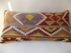 "32""x16"" inch TRİBAL KİLİM PİLLOW,Bohemian Home Decor Long Lumbar Old Pastel Turkish Kilim Rug Pillow Cover.Oversize Pillow,Anatolian."