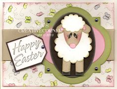 Alex's Creative Corner - Lamp - Sheep Easter Punch Art Card