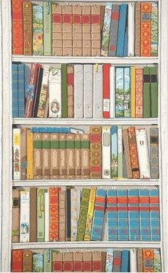 Bibliotheque wallpaper designed for Brunschwig & Fils by Richard Lowell Neas...an interior designer and decorative painter...he was well known for his trompe l'oeil murals.