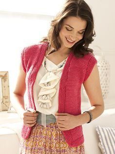 Knit Simple Spring/Summer 2012 #19 Cap-sleeve Vest pattern by Mary Beth Temple