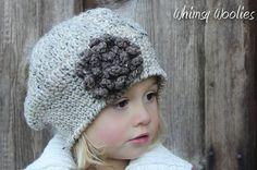 Patrón ganchillo: 'Sofia Belle Beret' con Loopy flor, sombrero del ganchillo, Niño pequeño, Niño / Tween y Mujeres