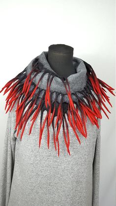 Red gray grey black nuno felted scarf winter autumn handmade
