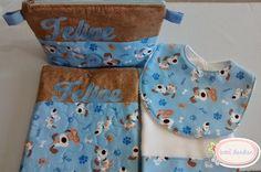Kit boas-vindas Feipe necessaire, babeiro e fralda de boca menino cachorrinho