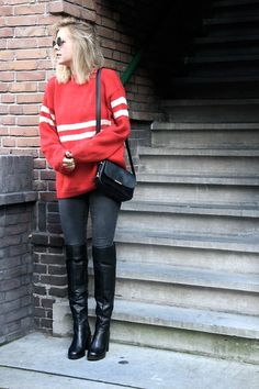 Get this look: http://lb.nu/look/7782494  More looks by Jint B.: http://lb.nu/user/303869-Jint-B  Items in this look:  Invito Over The Knee Boots, Tommy Hilfiger Crossbody Bag   #casual #street #vintage