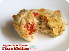 Pepperoni & Cheese Pizza Muffins - Kid & Freezer Friendly Recipe - It's Gravy, Baby! Lunch Box Recipes, Great Recipes, Snack Recipes, Favorite Recipes, Snacks, Lunch Ideas, Freezer Cooking, Freezer Meals, Yummy Treats