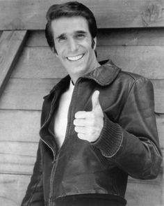 "fonz -- Happy Days . . . on Tuesday nights in the early 80's . . . used to sit on the floor, ""5"" handspaces back from the T.V. so I wouldn't go blind!"