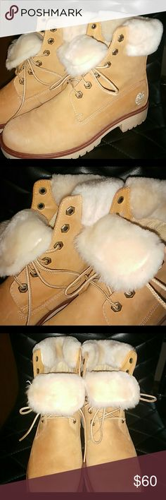 Womens Timberland Fur Boots /7M Reposh - so sadly these didn't fit my daughter,  was very disappointing.  I was being hopeful that they'd run big.  But they're true tons size 7. They are amazing Timberlands.  I can honestly say the very best I've ever seen.  I'm 100% in love W these boots.  I wish they'd fit me as well.  But our loss is your gain! Wear them with the tongue down so the fur is out or wear with the tongue up as shown in last photo.  Very neat either way. Timberlands Shoes…