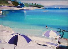 "Alan Kingsbury (British, b. 1960) - ""Swimmer"" - Oil on board"