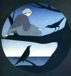 "© WILL BARNET (1911- 2012) ""Ravens"" - mixed media"