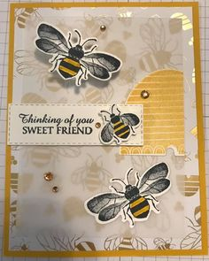 Bee Cards, Candy Cards, Friendship Cards, Bee Theme, Stamping Up Cards, Animal Cards, Cards For Friends, Creative Cards, Greeting Cards Handmade
