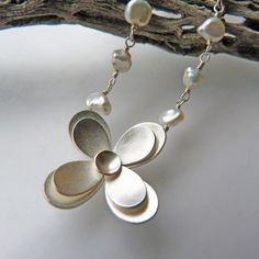 Botanical pendant no. 6 on hand-linked keishi pearl chain by Moira K. Lime on Etsy