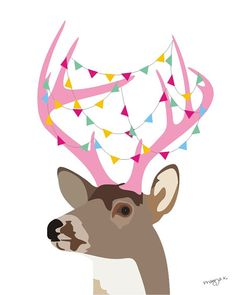 Whimsical animals art  Deer print with bunting on by PragyaK, $20.00