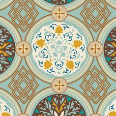 French Riviera Fabric Swatch FR-5061 Aqua Stained Glass