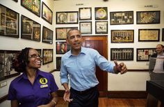 President Obama sings along to Bob Marley music being piped in as he tours the Bob Marley Museum with tour guide Natasha Clark in Kingston, Jamaica, last night (Photo by Pete Souza) Bob Marley, Tourist Attractions In Jamaica, Portia Simpson Miller, Puerto Rico, American Splendor, Robert Nesta, Black Royalty, Kingston Jamaica, Young Leaders