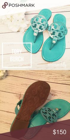 Tory Burch sandals This is like new. I only wore it for few hours until I realized it was too small on my feet. It is teal color. It is perfect for summer time with almost any outfit. Shoes