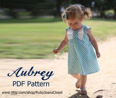 Aubrey - Bow Dress Sewing Pattern. Girl's Dress Pattern. Toddler Pattern. PDF Pattern. Sizes 12m-8 included. $7,50, via Etsy.