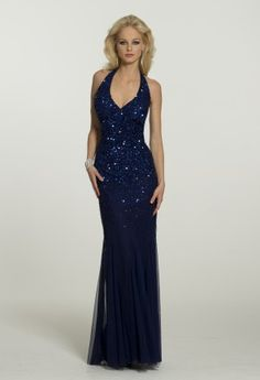 Long Dresses - Sequin Halter Prom Dress with Godets from Camille La Vie and Group USA