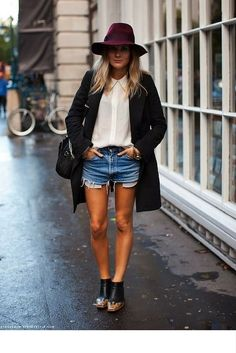 sneakers and pearls, street style, denim distressed shorts with a white shirt for a cool transition to Autumn, trending now, uh-la-la-land.jpg