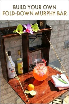 Can't afford a full size bar for your outdoor area? Then build one of a fold-down murphy bar!