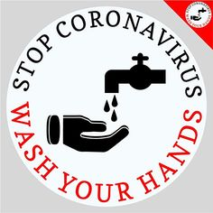 Coronavirus Protection Sticker - 5 x Stop Coronavirus Wash Your Hands Sign - Bathroom Mirror or Glass Window Cling - Round Prevention Decal - Washroom Hygiene Notice - Prevent Hand Washing Poster, Mirror Vinyl, Happy Birthday Signs, Safety Posters, Maya Angelou Quotes, Window Clings, Bathroom Signs, Washroom, Health And Safety