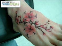 Cherry Blossom Tattoo On Foot by juana