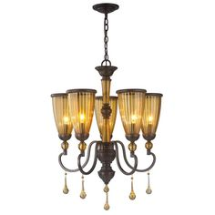 5 Light Oil Rubbed Bronze Chandelier With Crystal Adorned Tea Stained Glass Shade