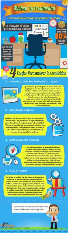 Motivar la creatividad desde la oficina #infografia, #infografia, #infographic, #emprendimiento, #entrepreneurship