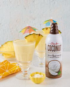 Looking for a taste of paradise on #NationalCoconutDay?🥥 Try these Pina Colada's made with Gay Lea Coconut Whipped Topping to enjoy on this summer day! ☀️ Cookies Light, Coconut Whipped Cream, Toasted Marshmallow, Whipped Topping, Banana Split, Frappe, Lactose Free, Natural Flavors, Paradise