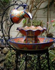 Talavera - Puebla, Mexico. A lovely garden fountain.  love it!!