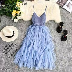 Checkout this latest Dresses Product Name: *High-Buy chrochet upper net frill party wear dress free size(xxs/xs/s) length-45 inches-blue * Fabric: Net Sleeve Length: Sleeveless Pattern: Solid Multipack: 1 Sizes: Free Size (Bust Size: 32 in, Length Size: 45 in)  Country of Origin: India Easy Returns Available In Case Of Any Issue   Catalog Rating: ★4 (259)  Catalog Name: Women's Net Dresses CatalogID_2248735 C79-SC1025 Code: 598-11850882-8742