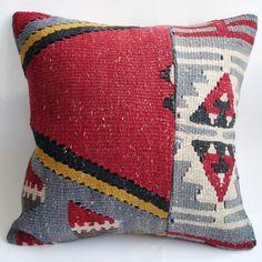 Sukan / SOFT Hand Woven - Turkish Kilim Pillow Cover - 16x16. $79.95, via Etsy.
