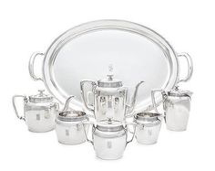 An American Silver Six-Piece Tea and Coffee Set with Matching Tray Argent Sterling, Coffee Set, Tiffany, Tea, American, Silver, Teas, Money