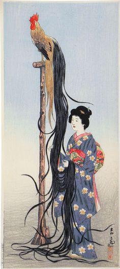 Ishii Tsuruzo (1887-1973)  Beauty with Onagadori (long-tailed chicken) on stand, woodblock print, ca. 1933.