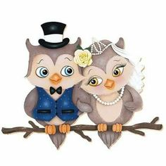Cartoon owl newlyweds PNG and Clipart Decoupage, Arte Country, Owl Cartoon, Owl Pictures, Owl Always Love You, Beautiful Owl, Cute Clipart, 5d Diamond Painting, Owl Art