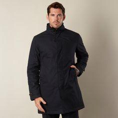 Rocha.John Rocha Designer navy waxed mock insert mac coat- at Debenhams.ie