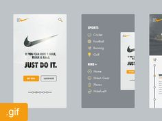 Nike App Walk-through Animated .Gif | Flat Mobile User Interface Design #UI