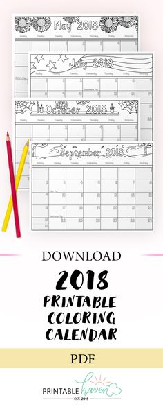 2018 Printable Coloring Calendar.